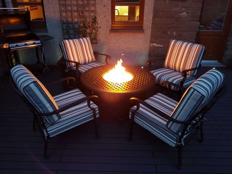 Georgia Round Gas Fire Pit Lounge Set, Outdoor Furniture With Gas Fire Pit Table