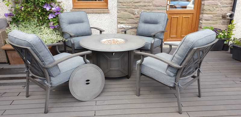 Alabama Square Gas Fire Pit Lounge Set, Outdoor Furniture With Gas Fire Pit Table